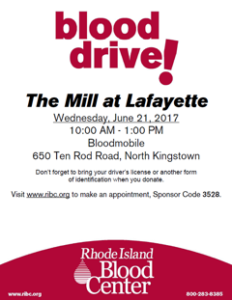 The Mill at Lafayette Blood Drive 6/21/17 @ Mill At Lafayette | North Kingstown | Rhode Island | United States