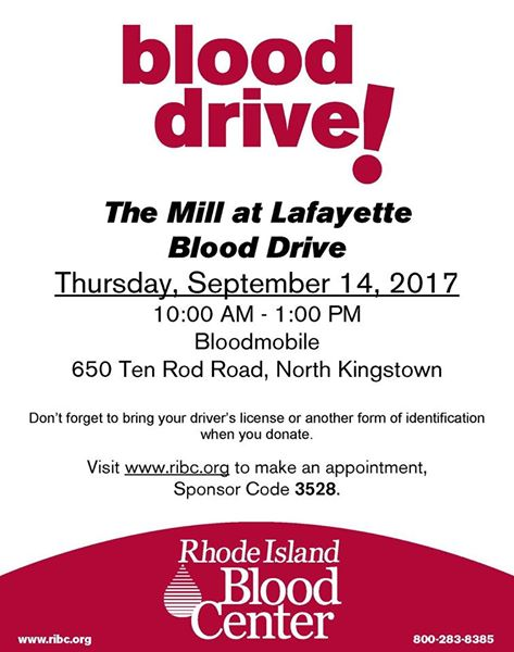 Blood Drive at The Mill at Lafayette in North Kingstown
