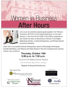 Women In Business After Hours With Guest Speaker Tuni Renaud Schartner @ The Elms | Newport | Rhode Island | United States